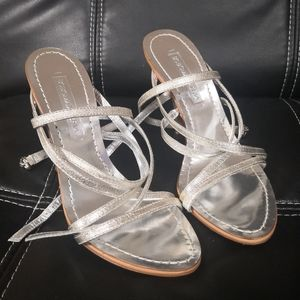 BCBG silvery leather heeled strappy sandals